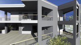 Costruzione di una casa a due piani con negozi al piano terra